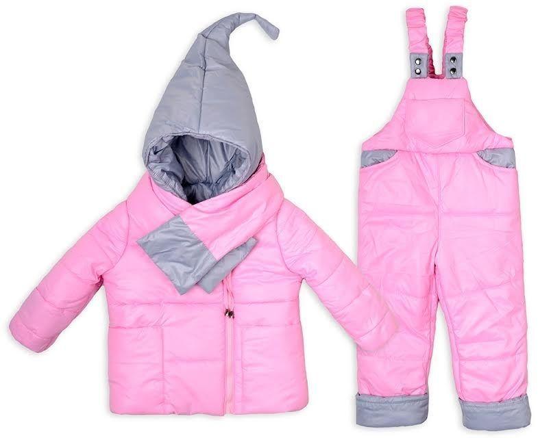 Детский зимний комбинезон Гномик+ шарфик розовый 1-2,2-3,3-4 года