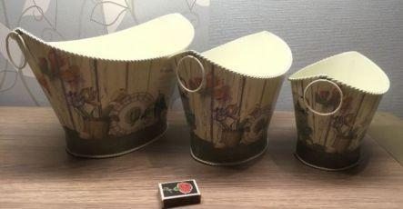 Набор Кашпо из 3 шт, металл, ваза, вазон,подставка для цветов, прованс