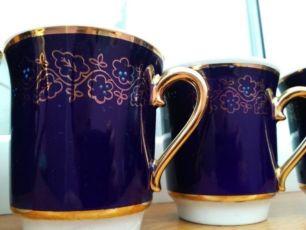 Чашки кобальтовые фарфоровые Довбыш позолота знак качества
