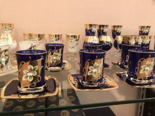 Богемия бокалы смальта лепка синий позолота Чехия