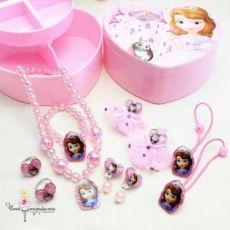 Детская шкатулка с украшениями Sofia, клипсы, заколки, бусы, игрушки