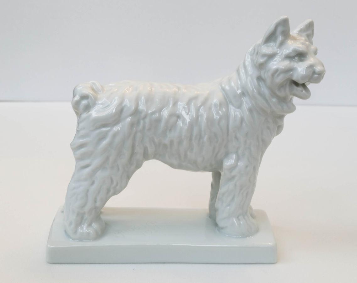 Очень редкая! Фарфоровая статуэтка Белая Собака, Herend Hungary, 1931