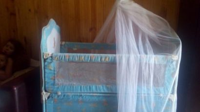 Кроватка Geoby,3 в 1 (люлька, кровать, пеленальный стол, манеж)голубая