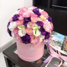 Доставка цветов, цветы в шляпной коробке, 101 роза, розы, букет, цветы