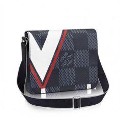 Кожаная мужская сумка повседневная Louis Vuitton District PM Red