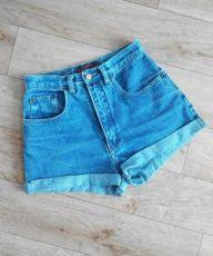 Синие женские шорты высокая посадка талия , НЕ плотный джинс, мом, mom