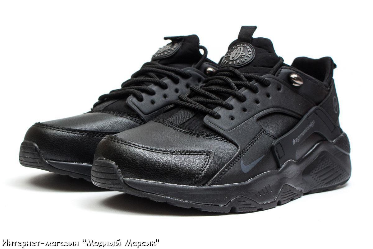 8fae82c3 Кожаные черные мужские кроссовки Nike Air Huarache, р. 41-46, AF14031