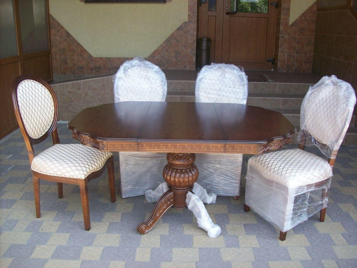 Стіл столовий, розкладний + 4 стільці (новий) (4397)