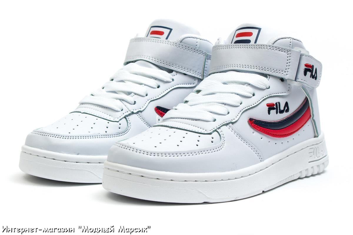Белые кожаные высокие кроссовки Fila FX 100, женские, р 36-40, AF14192 b14cec935eb
