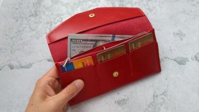 Женский кожаный кошелек, женский красный кошелек, кожаный женский порт