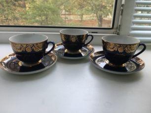 Фарфоровые чашки с блюдцем ЛФЗ 3 шт