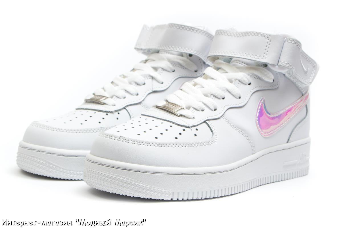 b118fa9c Красивые белые кроссовки Nike Air Force 07 Найк Аир, р 36-40, AF14372