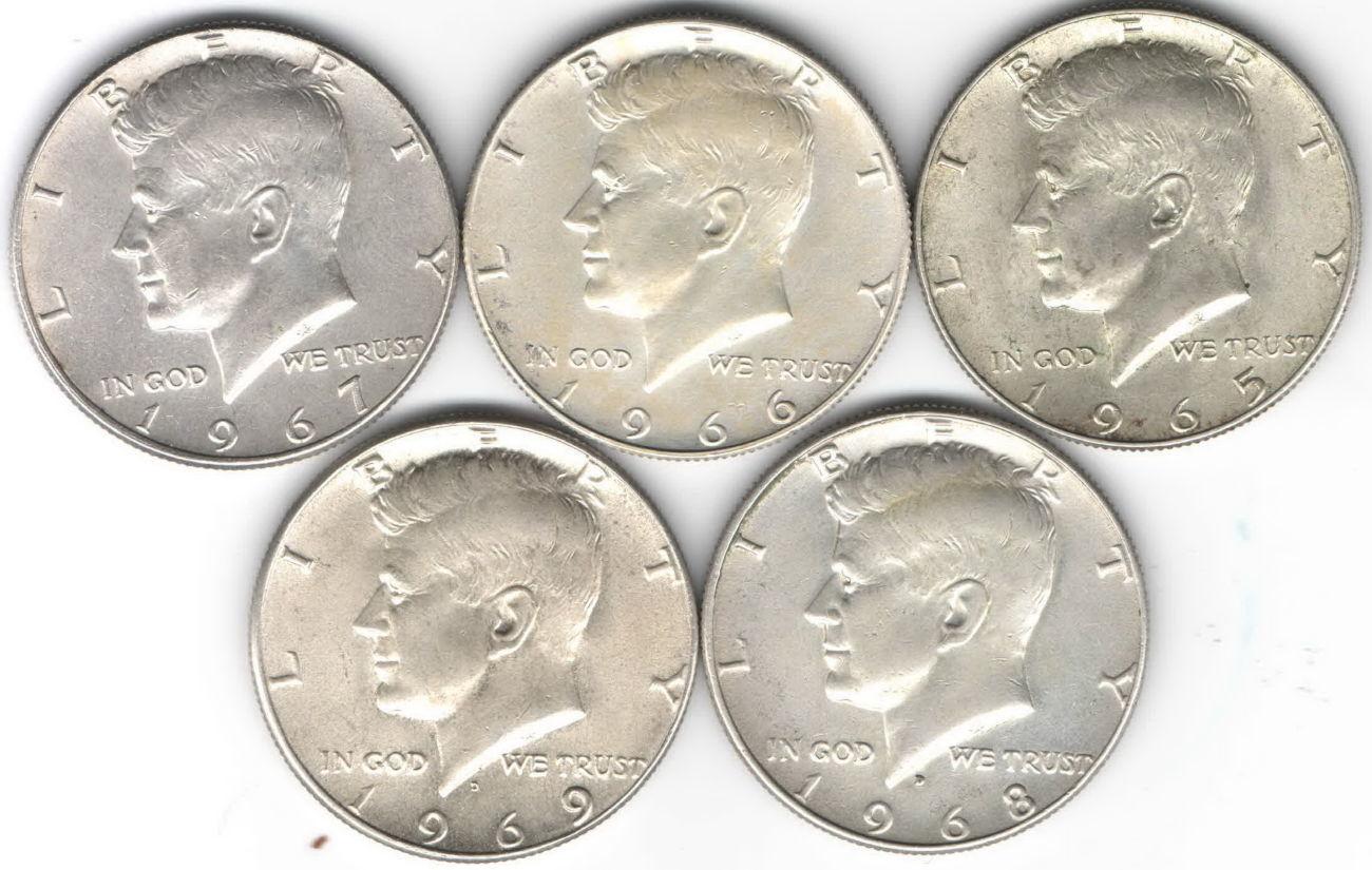 США ½ доллара комплект 1965-1969 года, Kennedy Half Dollar, Серебро