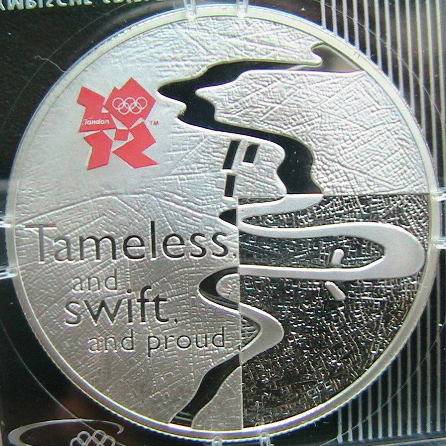 Великобритания 5 фунтов 2010, XXX Олимпийские Игры, р.Темза, Серебро