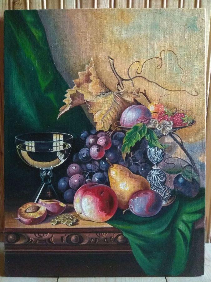 картина маслом на холсте Натюрморт с вином и фруктами (Edward Ladell)