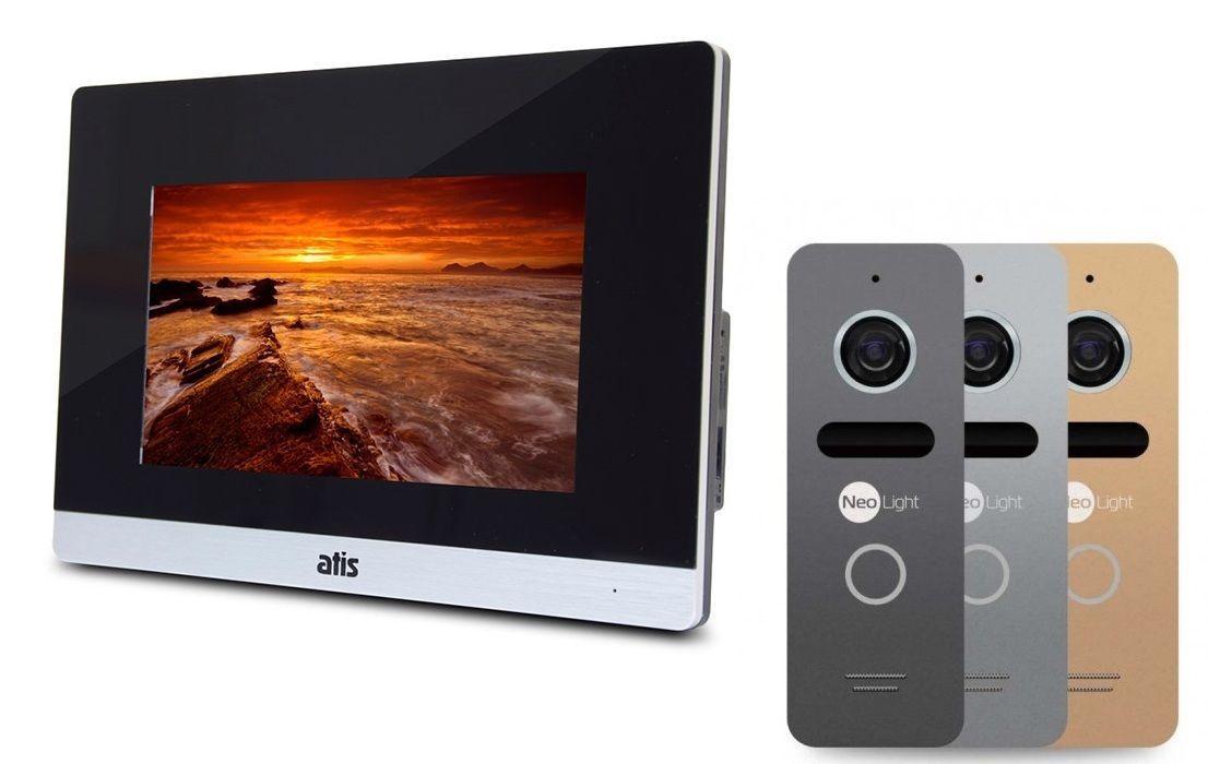Комплект домофона ATIS AD-750M S-Black - сенсорный экран, детекция