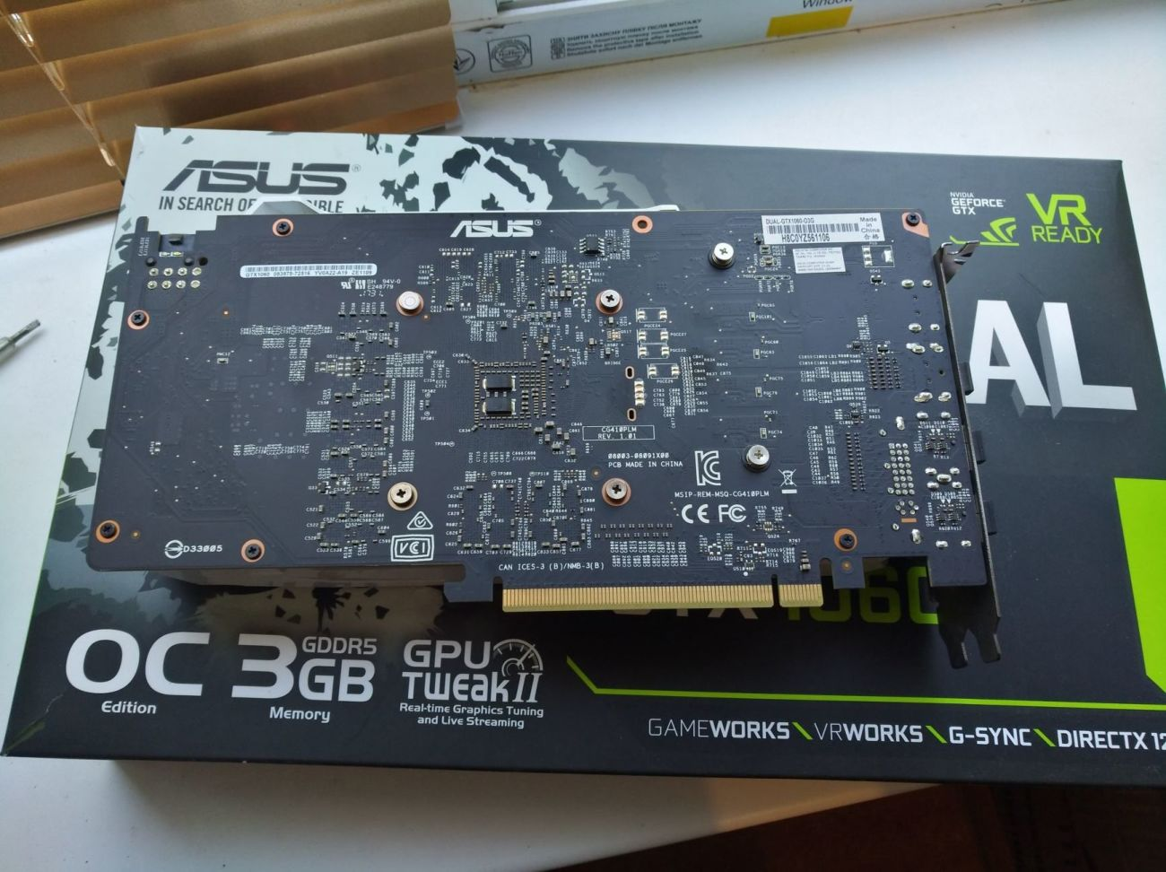 ASUS Dual GTX 1060 3GB с официальной Украинской гарантией
