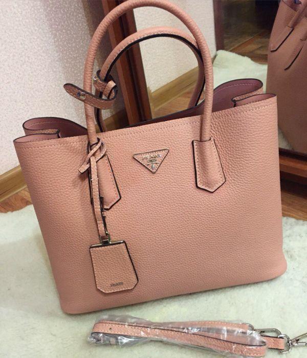f8c99a80a1e8 Сумка Prada Milano Cuir Double Bag pink копия оригинал 1:1 pu кожа ...