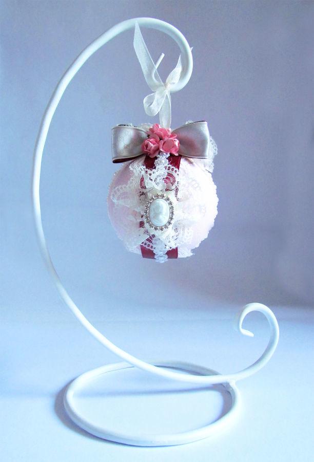 Дизайнерский декор с подставкой розовый & бордо малый