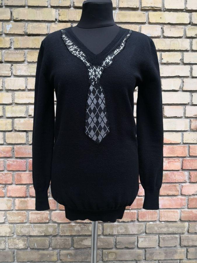 Шерстяной джемпер EAN 13 collection, Италия, цвет - черный.