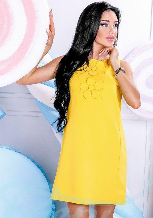 b38930af010210 Купити зараз - Яркое платье-трапеция. Желтое: 570 грн. - Сукні ...