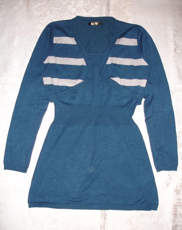 Платье/плаття/сукня-туніка 42 р., синя, довгий рукав, 55 % шерсть