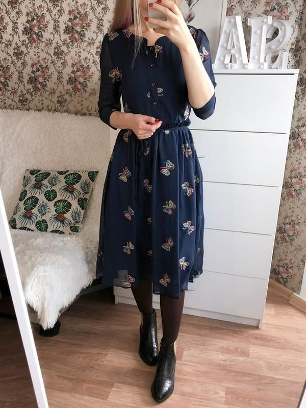 6e9a5aee8e2 Елегантне синє плаття міді з вишивкою розмір м  750 грн. - Платья ...