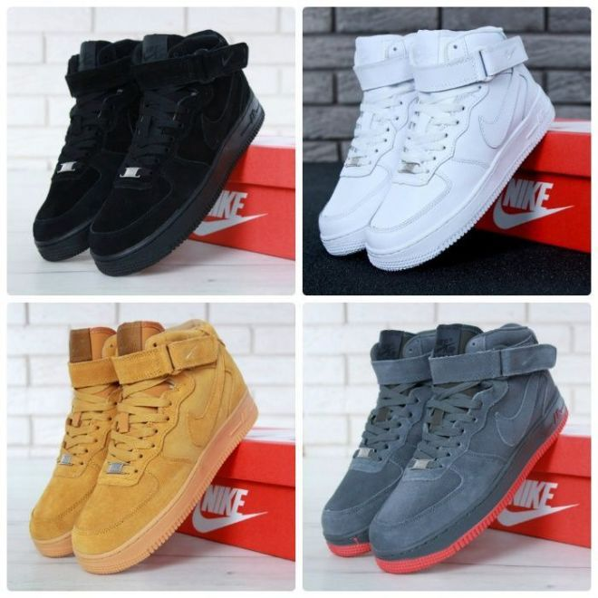 42928167 Зимние Мужские женские ботинки кроссовки Nike Air Force High на меху