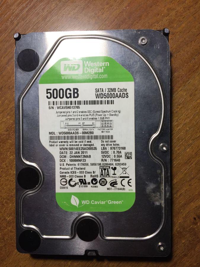 HDD 500GB несправний
