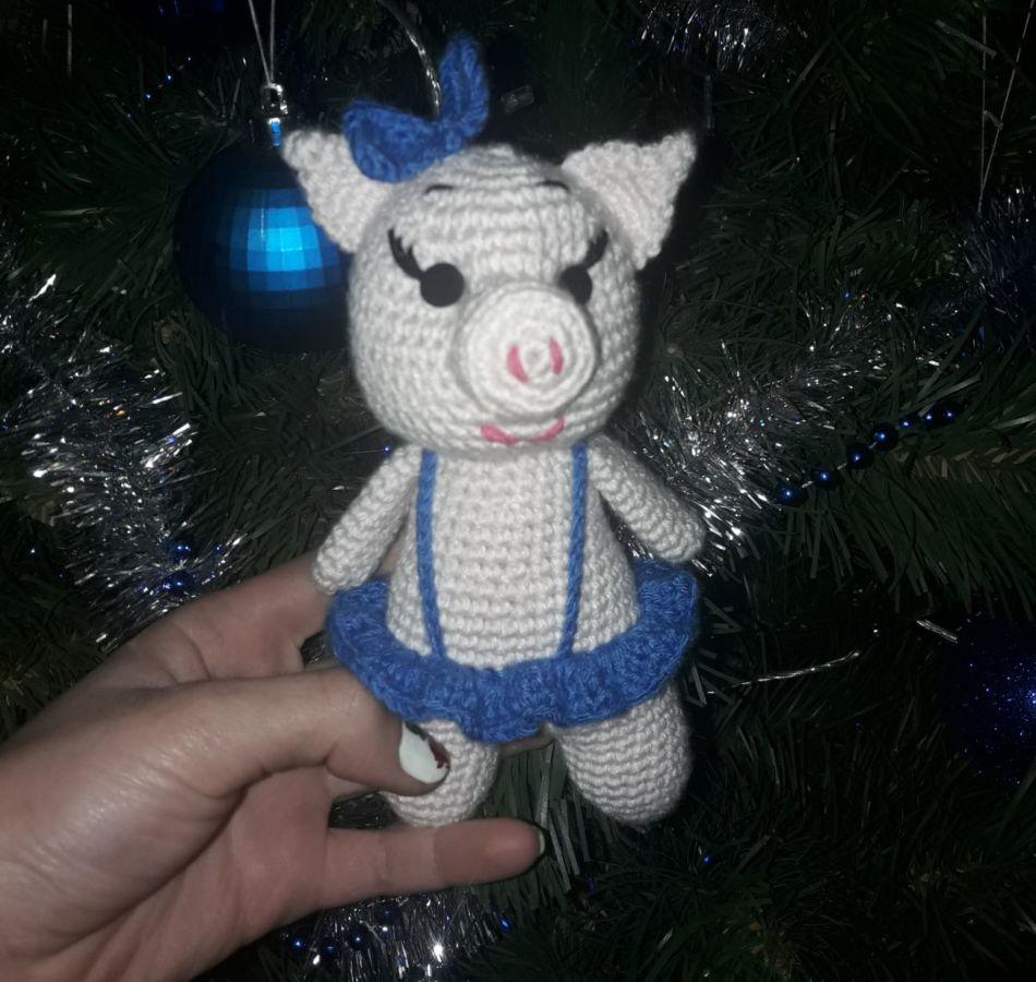 Детская мягкая, вязанная игрушка Свинка