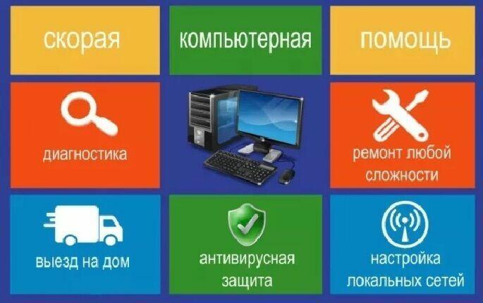 Ремонт компьютера и ноутбука, чистка, настройка, обслуживание