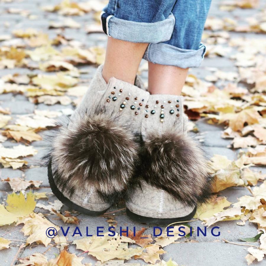 Валеши.  Стильные валенки.  Войлочные Угги. Зимние ботинки.