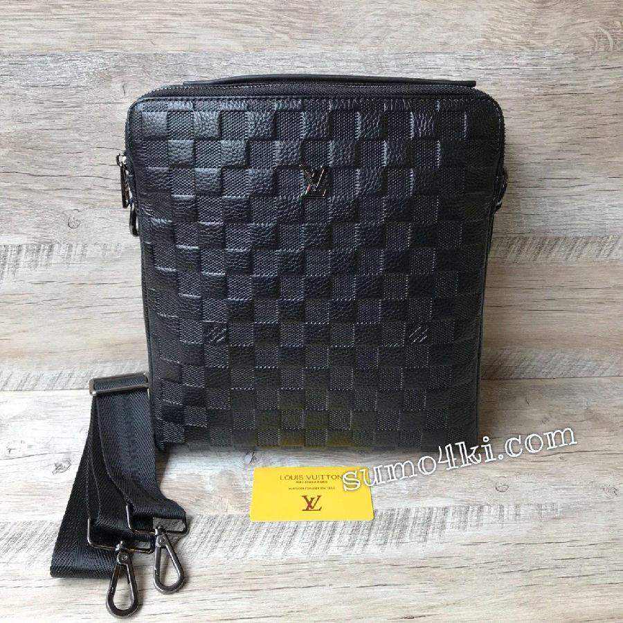 b4ae587bb418 мужская кожаная сумка через плечо Louis Vuitton lv черная : 1 850 ...
