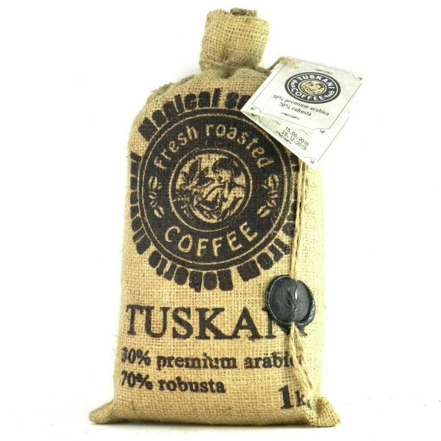 Кава в зернах Tuskani 30% premium arabica 70% robusta 1кг