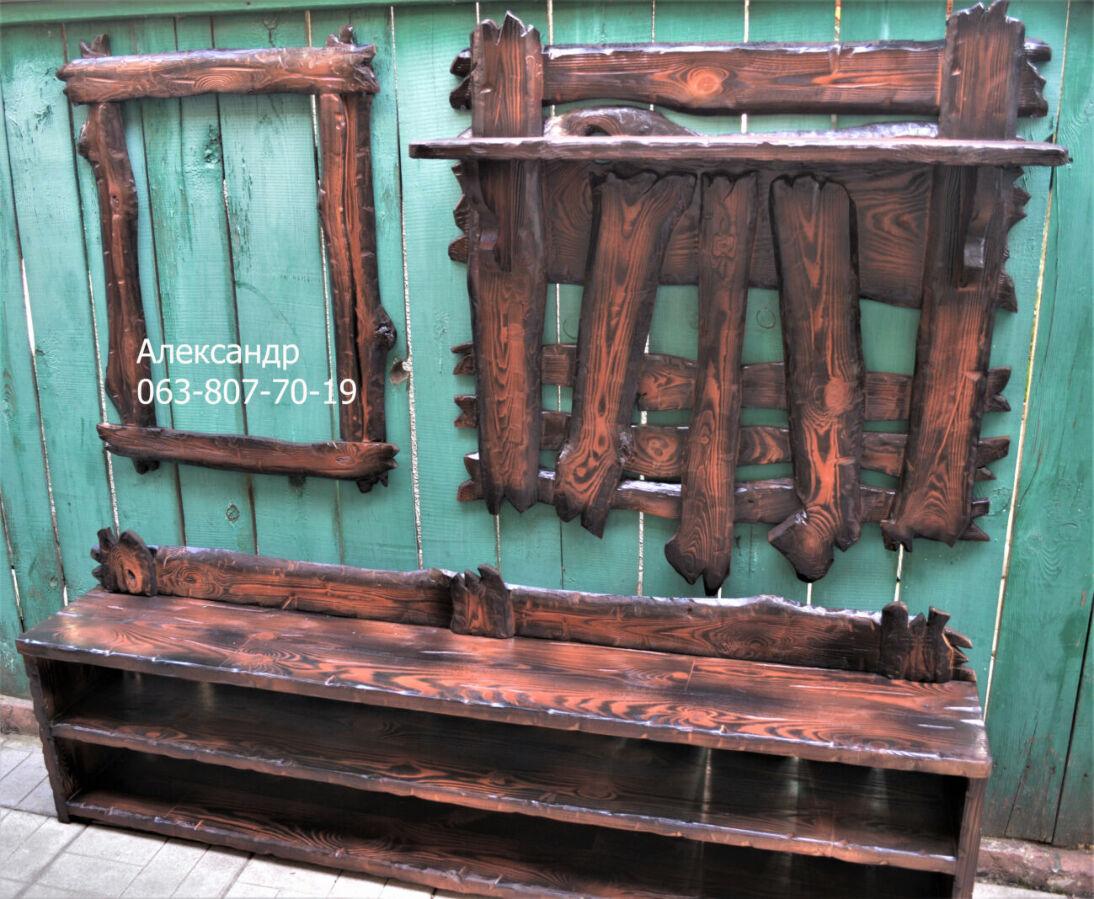 Прихожая деревянная под старину №3 ( вешалка, полка, рамка )