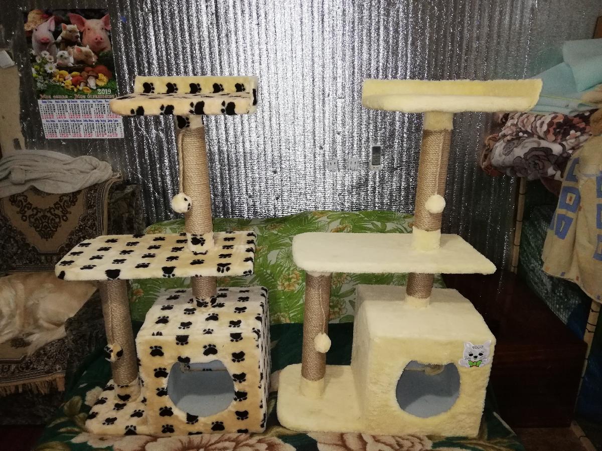 Когтеточка для кота с домиком и без высота 1 метр