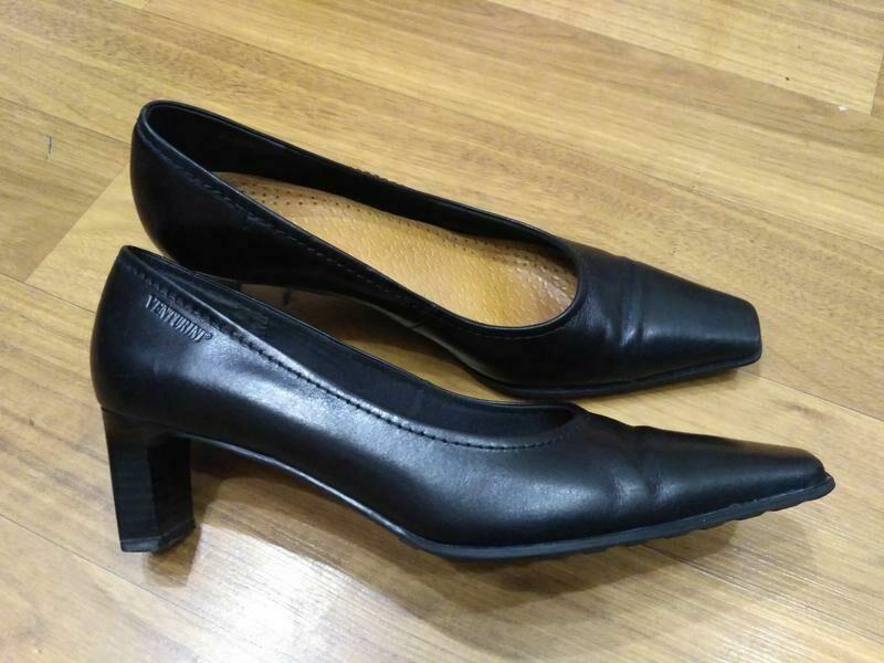 bed42bddce5f6a Кожаные туфли лодочки venturini италия, небольшой устойчивый каблук ...