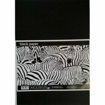 Черная бумага для рисования в п/п пакете А3, 10 листов