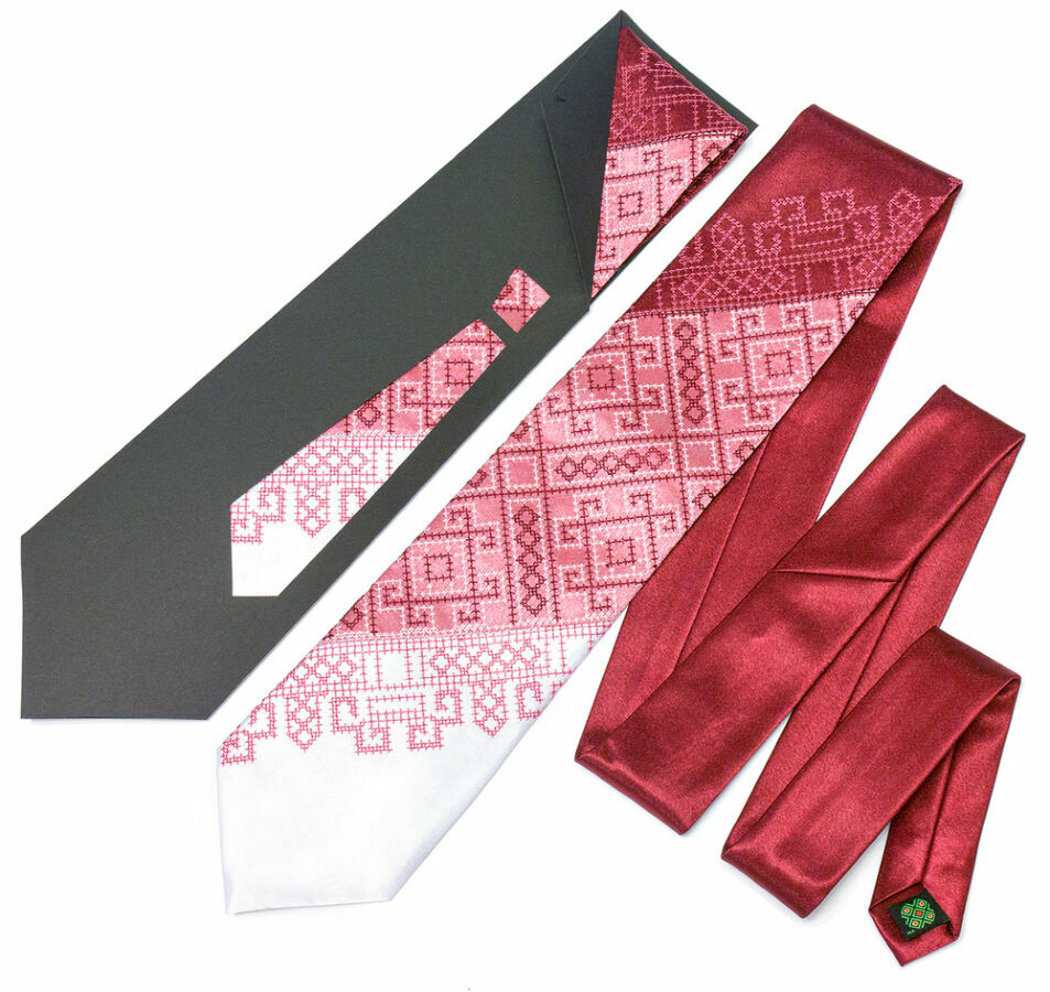 Краватка з вишивкою Бордове Тріо