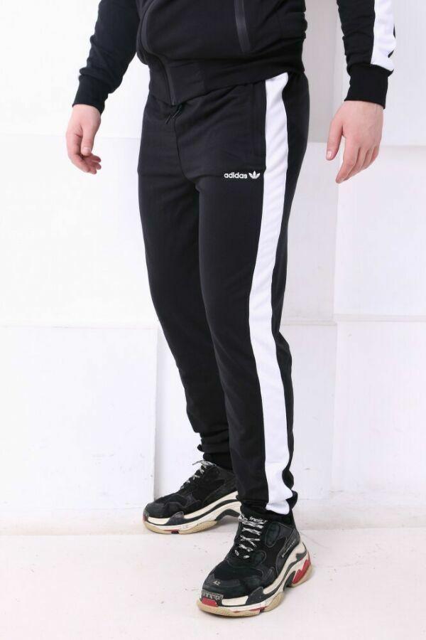 4bb17325 Купить сейчас - Спортивные штаны Adidas черные с белым лампасом: 500 ...
