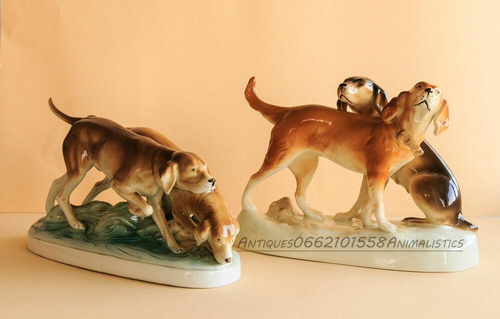 Фарфор Фарфоровая статуэтка Чехия Royal Dux две пары Охотничьи собаки