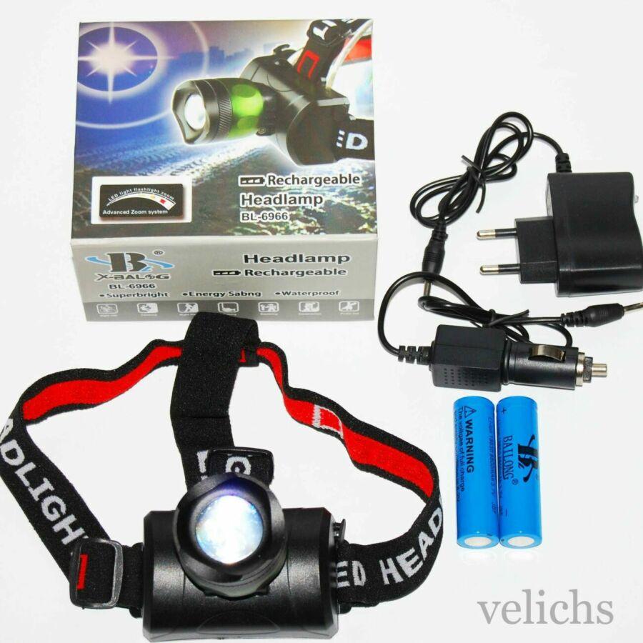 Налобный фонарик Bailong Police BL-6966 два аккумулятора светодиод Т-6