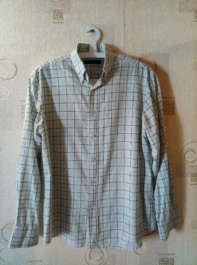ab606043f05 Купить сейчас - Мужская белая рубашка с длинным рукавом в клетку ...