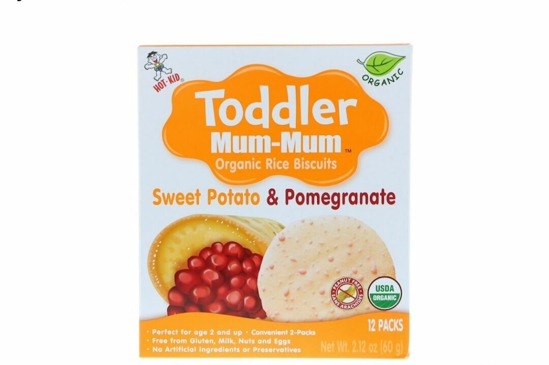 Hot Kid, Печенье с органическим рисом Toddler Mum-Mum, батат и гранат,