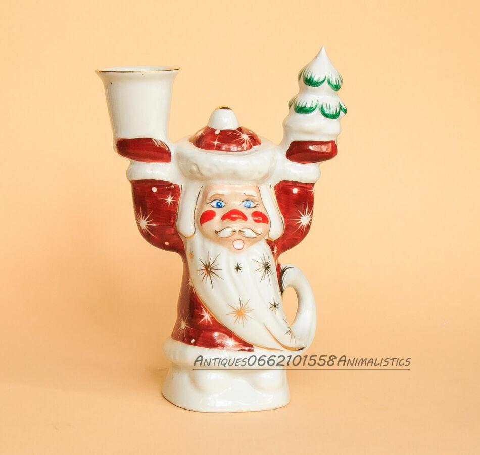 Фарфоровая статуэтка подсвечник Дед мороз фарфор Коростень Трегубова