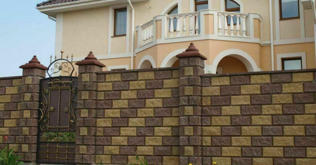 Заборные Блоки под Рваный камень 390*190*100 мм.Вибропрессованные.