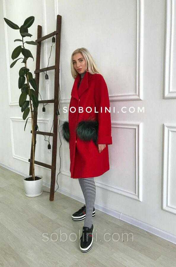 Пальто «Aria» с карманами из чернобурки