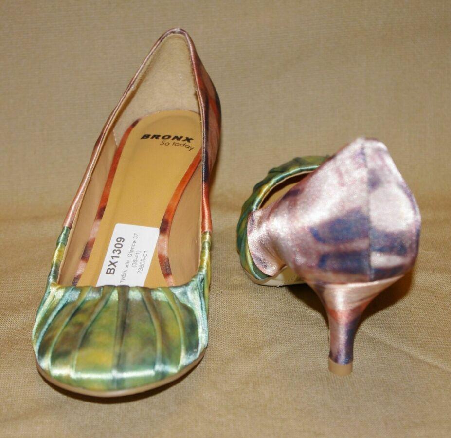 Туфли Bronx (бразилия) новые розово-зеленого цвета атласные 37 размер