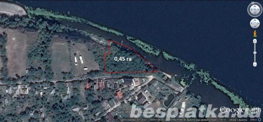 Триполье. 0.45га с прямым выходом в р. Днепр