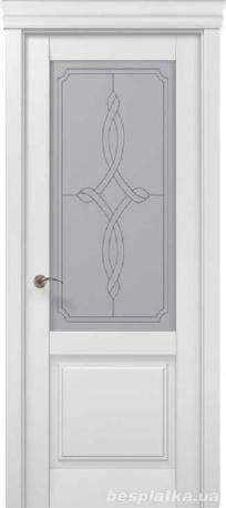 белые качественные межкомнатные двери со стеклом и рисунком Blanshe